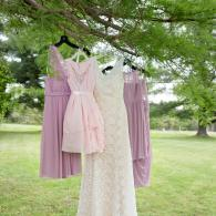 Crockette's Images Wedding Photography- Outdoor photo of the bride and bridesmaid dresses.