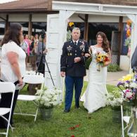 Crockette's Images Wedding Photography- Outdoor wedding photo of a military dad walking his daughter