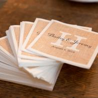 Crockette's Images Wedding Photography- Decorative wedding napkins with bride and groom's names.
