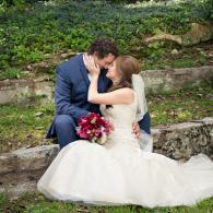 Crockette's Images Wedding Photography- bride and groom outdoor photo touching faces.