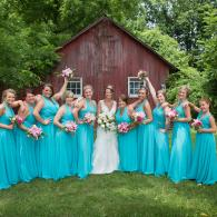 Crockette's Images Wedding Photography- Outdoor Bridal party photo with barn in the back.