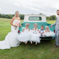 Crockette's Images Wedding Photography- Outdoor wedding photo of a bride, groom and the flower girls