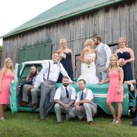Crockette's Images Wedding Photography- Outdoor wedding party photo with an antique truck.