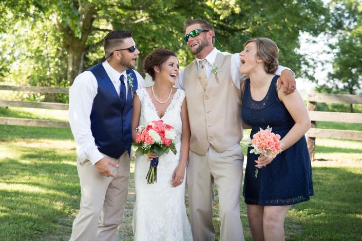 Crockette's Images Wedding Photography- wedding party photo of bride, groom, maid of honor, and best]