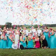 Crockette's Images Wedding Photography- Unique outdoor wedding party photo with confetti.