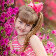 little girl in pink flowers