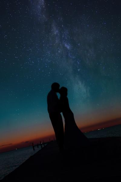 Crockette's Images Wedding Photography- Beach wedding photo of bride and groom at night with stars i